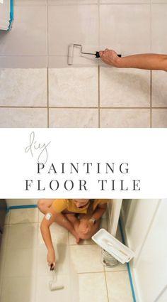 DIY Painted Tile Floor - Rust-Oleum - Dated Tile Transformation - Paint Tile Floor Painting Bathroom Tiles, Painting Tile Floors, Painted Floors, Diy Painting, Painted Bathrooms, Painted Kitchen Floors, Painting Ceramic Tile Floor, Painting Tile Backsplash, Painted Bathroom Floors