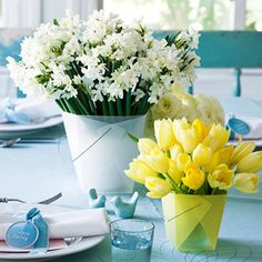 Carryout bouquet  Carryout boxes made of frosted plastic become elegant containers for floral centerpieces. Place spring blooms such as daffodils and tulips inside a short, water-filled glass before setting in the box. (Midwest Living)