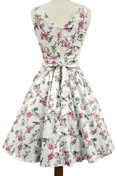 Cream Birdcage Print Tea Dress : Lady Vintage