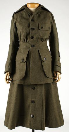 Uniform Abercrombie and Fitch Co. Date: 1917 Culture: American Medium: wool Dimensions: Length (a): 30 in. (76.2 cm) Length (b): 31 in. (78....