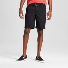 Men's Belted Flat Front Chino Shorts with Stretch Black 40 - Mossimo Supply Co.
