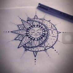 Sun and moon mandala tattoo Mandala Arm Tattoo, Tattoo Henna, Feather Tattoos, Rose Tattoos, New Tattoos, Tattoos For Guys, Tattoo Thigh, Paisley Tattoos, Flag Tattoos