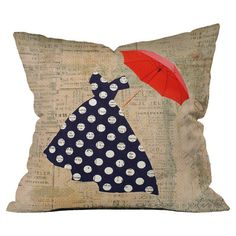 Throw pillow with a newsprint and umbrella motif by artist Irena Orlov for DENY Design. Made in the USA.  Product: Pillow