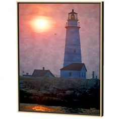 Menaul Fine Art Boston Light Limited Edition Framed Canvas Scott J. Menaul Special Features: Canvas giclee Primary color: orange Secondary color: brown A gorgeous sunset at Boston Lighthouse in Boston Harbor Painterly brushtrokes enhanc Framed Canvas, Canvas Art, Canvas Prints, Secondary Color, Primary Colors, Pho, Lighthouse, Boston, Fine Art