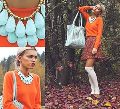 Forever 21 Teardrop Statement Necklace, Xander Vintage Orange Sweater, Steve Madden Studded Tote, Forever 21 Cheetah Bow Print Pleated Skirt, Nasty Gal Chelsea Boots