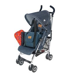 Maclaren's Denim Traveller combines sporty style and durable design for a chic stroller ride complete with a spacious changing bag and reversible seat liner, all at an exclusive value.