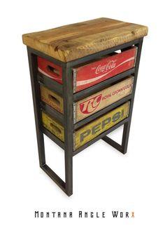 Steel & Reclaimed Barn Wood Vintage Soda Crate Table Night