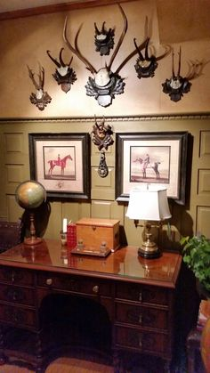 another view of the desk in our tiny library trophy roomsenglish Hunting Lodge Decor, Hunting Lodge Interiors, English Interior, English Country Decor, Trophy Rooms, Equestrian Decor, Lodge Style, Decoration, Room Decor