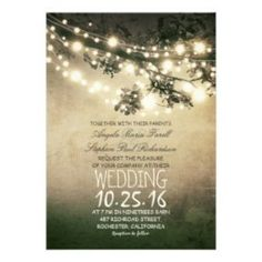 Tree lights style, wedding Invitations, $ prices vary, gonecountrychicwedding.com, #country #chic #wedding #invitations # #vintage #brown #barn #farm #wedding #trees #lights #outdoor