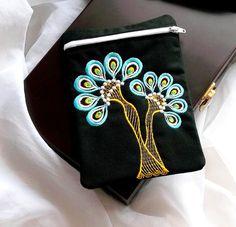 Wallet peacock zipper 3 - design - Machine embroidery digitization./INSTANT DOWNLOAD