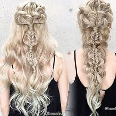 All bow down to the Khaleesi! Daenerys Targaryen-inspired hair by @theconfessionsofahairstylist. Would you wear this? #gameofthrones
