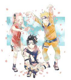 Anime: Naruto  Personagens: Uchiha Sasuke, Haruno Sakura e Uzumaki Naruto