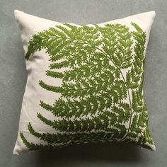 Creative Co-op White Square Cotton Pillow with Embroidered Green Ferns Green Throw Pillows, Floor Pillows, Decorative Throw Pillows, Decorative Items, Decorative Accessories, Wash Pillows, Green Cushions, Beige Couch, Pillows