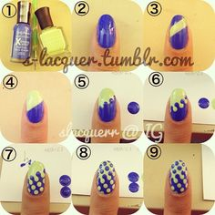 .@slacquerr | TUTORIAL TIME!! INTERLOCKING DOTS~ You will need: two different colored poli... | Webstagram - the best Instagram viewer
