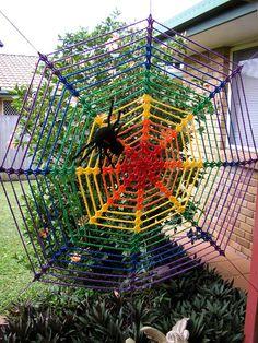 Rainbow #crochet spider web
