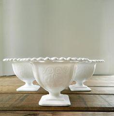 Vintage Milk Glass  Lorain Pattern Pedestal Bowls by Indiana Glass