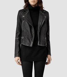 Womens Cargo Leather Biker Jacket (Black/Grey) - product_image_alt_text_1