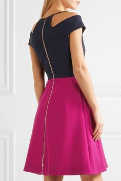 Navy and fuchsia wool-crepe Zip fastening through back Fabric1: 100% wool; fabric2: 100% polyester; fabric3: 100% silk; lining: 100% silk Dry clean Made in UK