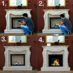 How to change a traditional fireplace into a bio ethanol fireplace? Bioethanol Fireplace, Old Fireplace, Bedroom Fireplace, Fireplace Remodel, Bio Ethanol, Traditional Fireplace, Ideias Diy, Dining Nook, Room Planning