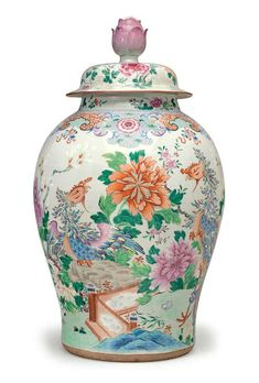 A very large famille rose baluster jar and cover, mid-18th century