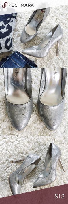 """🌞SALE🌿Silver Heels Cute & Edgy """"Penny loves Kenny"""" silver heels with a grey washed undertone. Has some imperfections, especially on the outside and top of the toe on the right heel as shown in pics. The heels and soles are in perfect condition. Make an offer! Shoes Heels"""