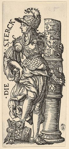 whole-length female figure in antique dress and wearing a helmet, leaning against a broken column decorated with ornaments, her right foot resting on a capital. From a series of seven woodcuts. Woodcut- Print made by: Hans Burgkmair the Elder Tarot, Engraving Illustration, Illustration Art, Vintage Prints, Vintage Art, Landsknecht, Pop Art, Occult Art, Scratchboard