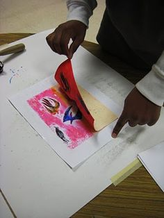 5th - Printing with color- colograph prints made by coloring the 'plate' with colored markers, spraying white paper with water and printing onto the wet paper. Clever!