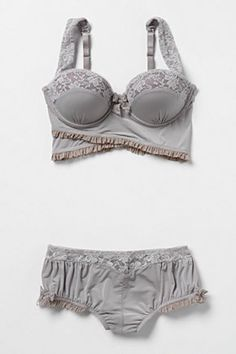 Gray-blue and dusty pink: Clouded Morning Bra and pantie set by Anthropologie looks comfy
