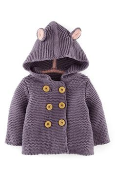 Mini Boden Knit Jacket  Mouse ears bring playful charm to a hooded knit jacket with double-breasted button closure.