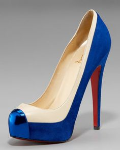 Christian Louboutin Wonder Woman Pumps or as the stores call it .... Mago Cap-Toe Two-Tone Pump - Neiman Marcus