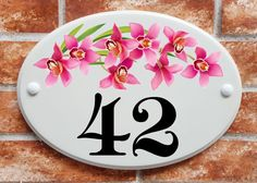 Orchid flowers house number sign (code 063) House Names, House Signs, Orchid Flowers, Print Pictures, Numbers, Decorative Plates, Ceramics, Printed, Home Decor