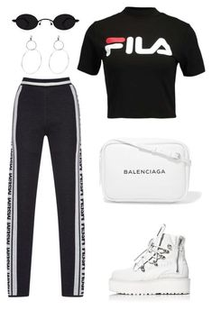 """""""Untitled #2144"""" by kellawear ❤ liked on Polyvore featuring Fila, Puma and Balenciaga #casualsummeroutfits"""