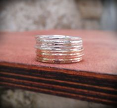 Stack Rings Silver and Gold Mixed metals Set of 10 by BijuBee, $68.00