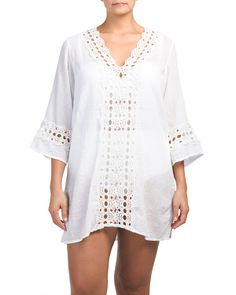 Plus Crochet Front And Trim Cover-up