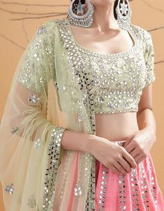 Love this mirror work lehenga by . If you want to see the latest Abhinav Mishra Lehenga Prices check website. Alsowanted to ask does anybody know any other brands that do mirror work Lehengas? Indian Bridal Outfits, Indian Designer Outfits, Designer Dresses, Wedding Outfits, Designer Wear, Wedding Couples, Lehenga Choli Designs, Lehenga Designs Latest, Party Wear Lehenga