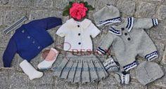 0117D-GRETE  0117D GRETE - Grete: Faltenrock, Bluse, Unterhose, Cardigan, Socken und Haarband Gretes Schwester: Anzug, Mütze und Socken