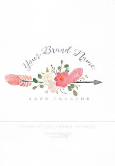 Vintage Native Floral Arrow Logo: Premade Boho Business Logo (Item #126)