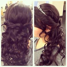 Half up half down with tiara for prom by Izzy at Mario Tricoci Orland Park