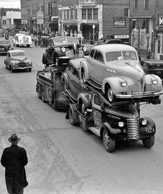 ~February 1940. Auto transport passing through Eufaula, Oklahoma.~