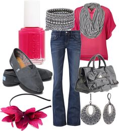 """""""Grey and hot pink"""" by lgull ❤ liked on Polyvore"""