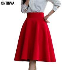 5XL Plus Size Skirt High Waisted Skirts Womens White Knee Length Bottoms Pleated Skirt Saia Preta Pink Black Red Blue 2017  #streetstyle #stylish #instalike #dress #fashionista #glam #ootd #styles #style #pretty