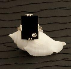 Antique Art Deco Black Onyx And Diamond Filigree Ring by 24KGreen, $425.00