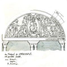 Carennac, le tympan du portail du XIIe s.