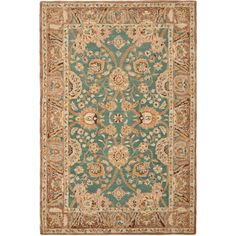 Safavieh Hand-made Anatolia Teal/ Camel Wool Rug (6' x 9') | Overstock.com Shopping - The Best Deals on 5x8 - 6x9 Rugs