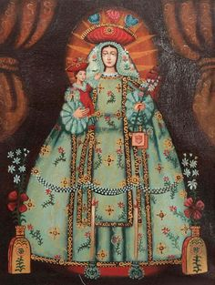 Love the novelty of the extreme approach to color and shape.  Unique Catholic Original Cuzco Oil Painting - Our Lady of Mercy | NOVICA