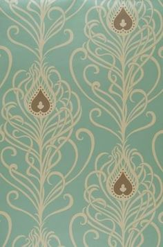This Vintage Wallpaper reminds me of feathers w/the pale blue and touches of light brown.
