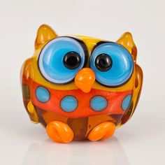 Owl Lampwork Glass Bead... maybe we should try Lampwork?