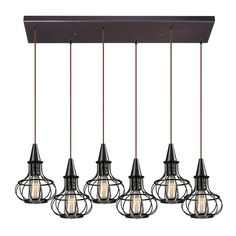 ELK Lighting 14191 6RC Yardley 6 Light Chandelier Oil Rubbed Bronze