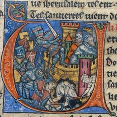 Jerusalem  Detail of an historiated initial 'V'(erite) of soldiers undermining the walls of a Jerusalem during the siege.