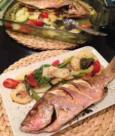 Spanish baked snapper and potatoes